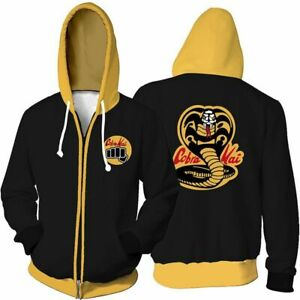 new photos watch how to buy Details about Cool Retro Cartoon Cobra Kai Mens Karate Kid Inspired Hooded  Hoodies Coats Zip
