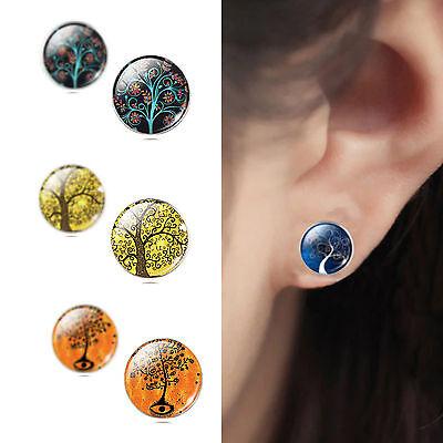 925 Sterling Silver Lifte Tree Cabochon Ear Stud Earrings Women jewelry Gift New