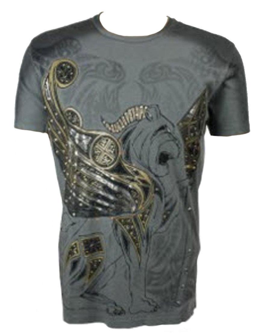 Konquest Platino Uomo Alato Leone Scettro Stampa T-Shirt Grigio Scuro (KQTS028)