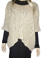 Anthropologie Slubby Cable Knit Poncho One Size Renee's Nyc Linen Blend Cables