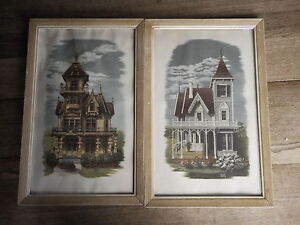 Set-of-Alice-Smith-prints-Victorian-House-glass-in-only-one-as-is-MCM-Kitsch