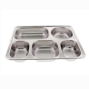 Stainless Steel 4 Or 5 Compartment Container Serving Tray