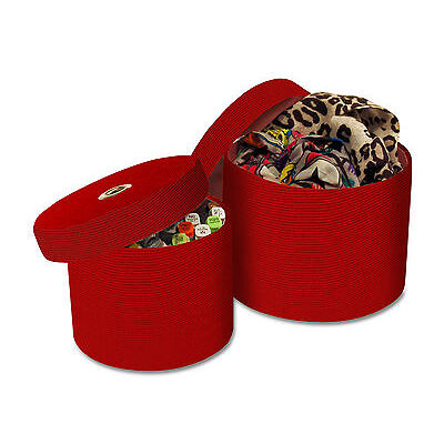 2 Round Fabric Storage Boxes with Lids in Red