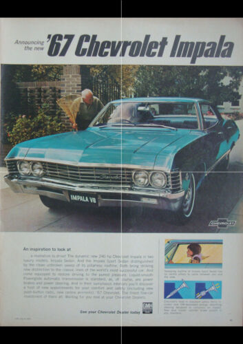 "1967 CHEVROLET IMPALA SPORT SEDAN AD PRINT WALL POSTER PICTURE 33.1""x23.4"""