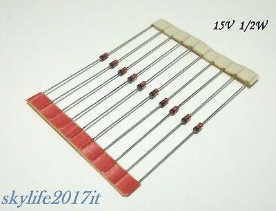 Diodo Zener in Vetro 3,6V confezione di 8 pezzi da 1//2W 3V6