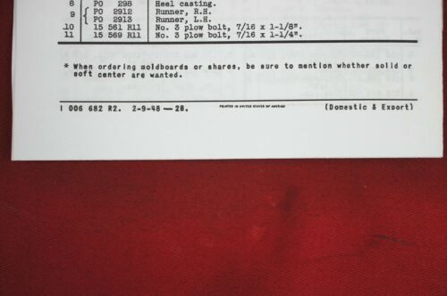 IH International /& Farmall Cub 16 Middle Buster Plow Operator/'s Owners Manual
