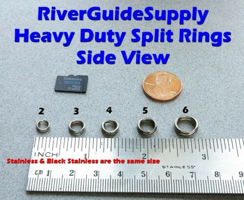 SIZE #6 BLACK HEAVY DUTY Split Rings 100 Count Stainless Steel USA HD Tackle