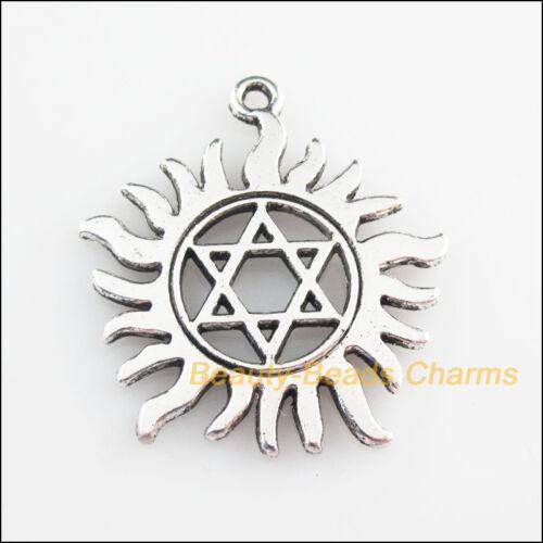 4Pcs Tibetan Silver Tone Sun Star Flower Charms Pendants 31x34mm