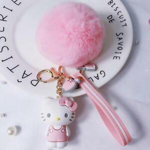 Cute-Pink-3D-Hello-Kitty-Keychain-Key-Chain-Pom-Pom-Fur-Ball-Keyring-Charm-Gift