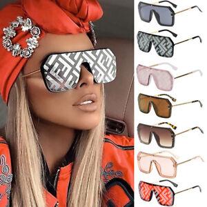 Oversized Square Sunglasses Women Letter Mirror Coating Men Shades Fashion UV400
