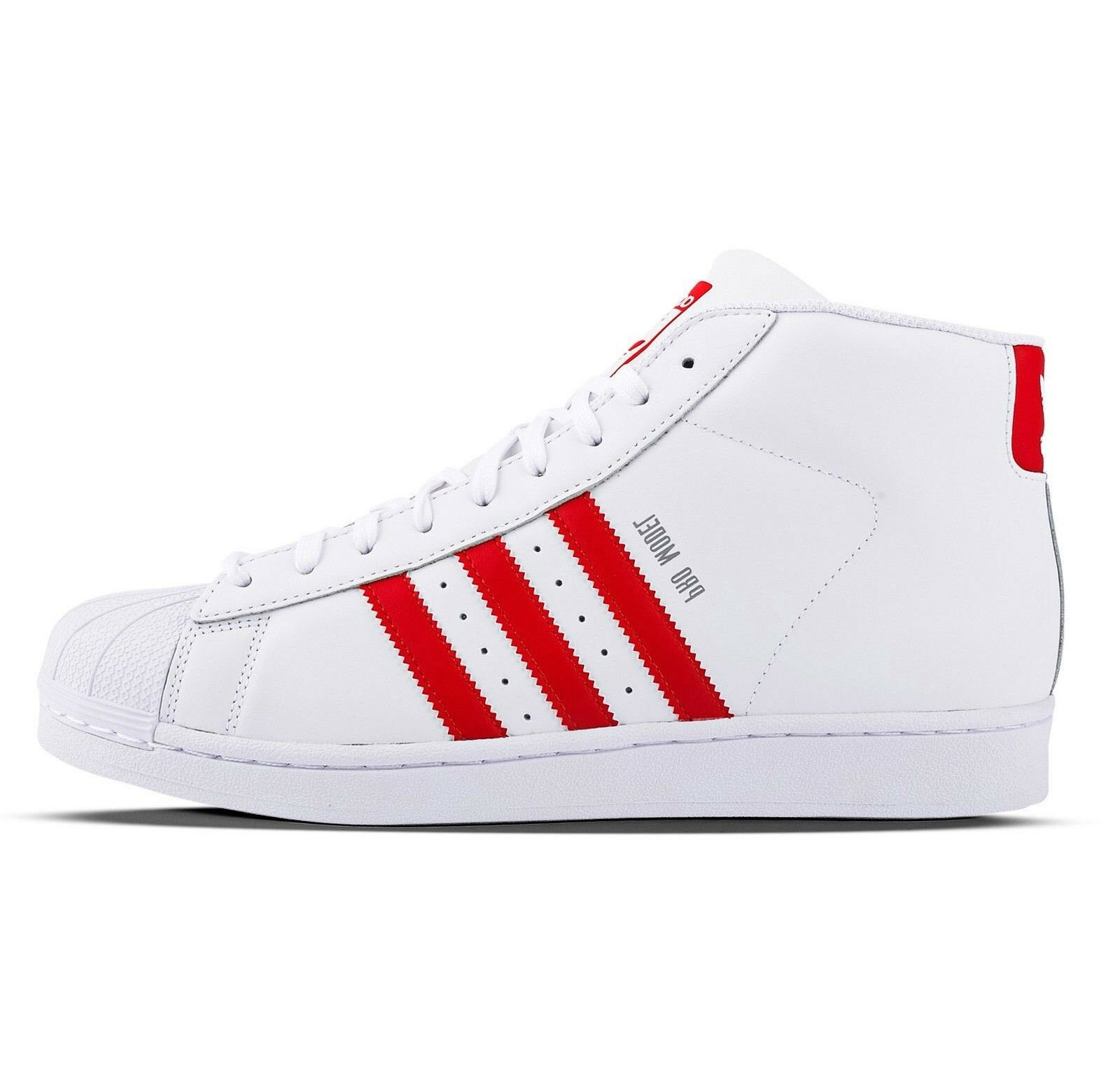 Adidas Pro Model S75928 Leather Shoes White Red Lace Up Casual Hi Top  Trainers