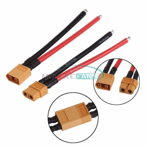2PCS XT60 Connector Male and Female W// Housing 10CM Silicon Wire 14AWG Cable