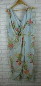 Cooper-Street-dress-blooming-drape-dress-blue-pink-floral-print-v-neck-size-22