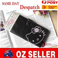 Black Women Girl Black Hello Kitty Faux Leather Cards Holder Long Wallet Purse