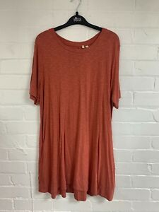 Ex Fat Face Terracotta Round Neck Tunic Pocket Dress Size 16 (OR4.211)
