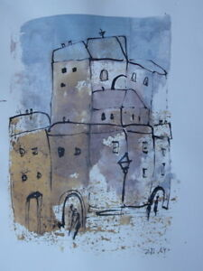 Dorf-Zeichnung-Sonja-Zeltner-Mueller-30x40cm-orig-sig-Kunstmuellerei-Duesseldorf