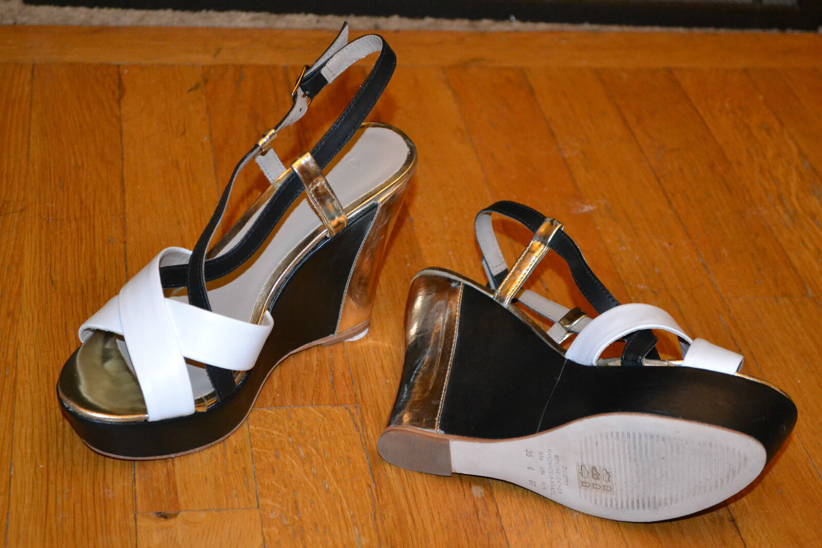Divietto Leder Metallic Ankle 10/41 Strap Wedges  Sz 10/41 Ankle New Made in Brazil 60fd35