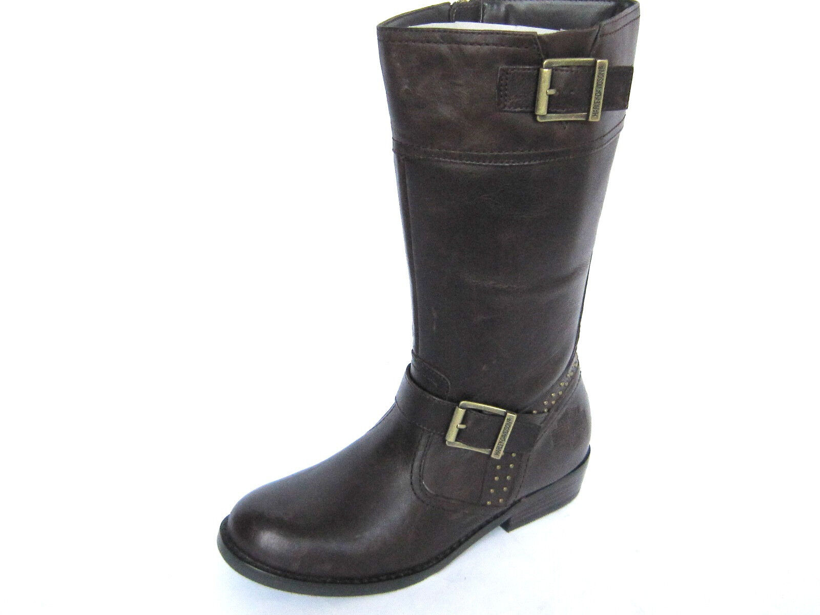 Harley Davidson HAYLEY Womens Motorcycle Buckle Brown Leather Boots US-6