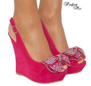 LADIES-HOT-PINK-PLATFORM-WEDGE-HIGH-HEELS-SHOE-SLING-BACK-SANDAL-PEEP-TOE-3-8