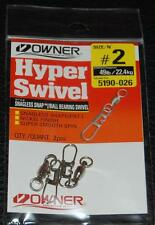 2 Pack - OWNER Stainless Snagless Snap Ball Bearing Hyper Swivel 5190-026 Size 2