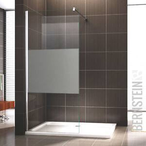 walk in dusche duschabtrennung duschwand duschtrennwand nano glas teilsatiniert ebay. Black Bedroom Furniture Sets. Home Design Ideas