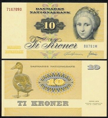 type 1 B8 DENMARK 10 KRONER 1978 P48c UNCIRCULATED