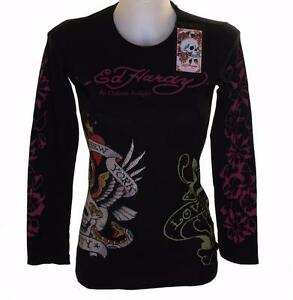 e7717aa16b10 Women's Ed Hardy Long Sleeve Platinum Diamante T Shirt Black Stretch ...