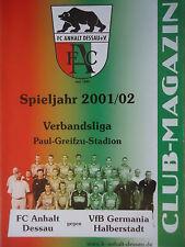 VfL Halle 96 Programm 2001//02 VfB Germania Halberstadt