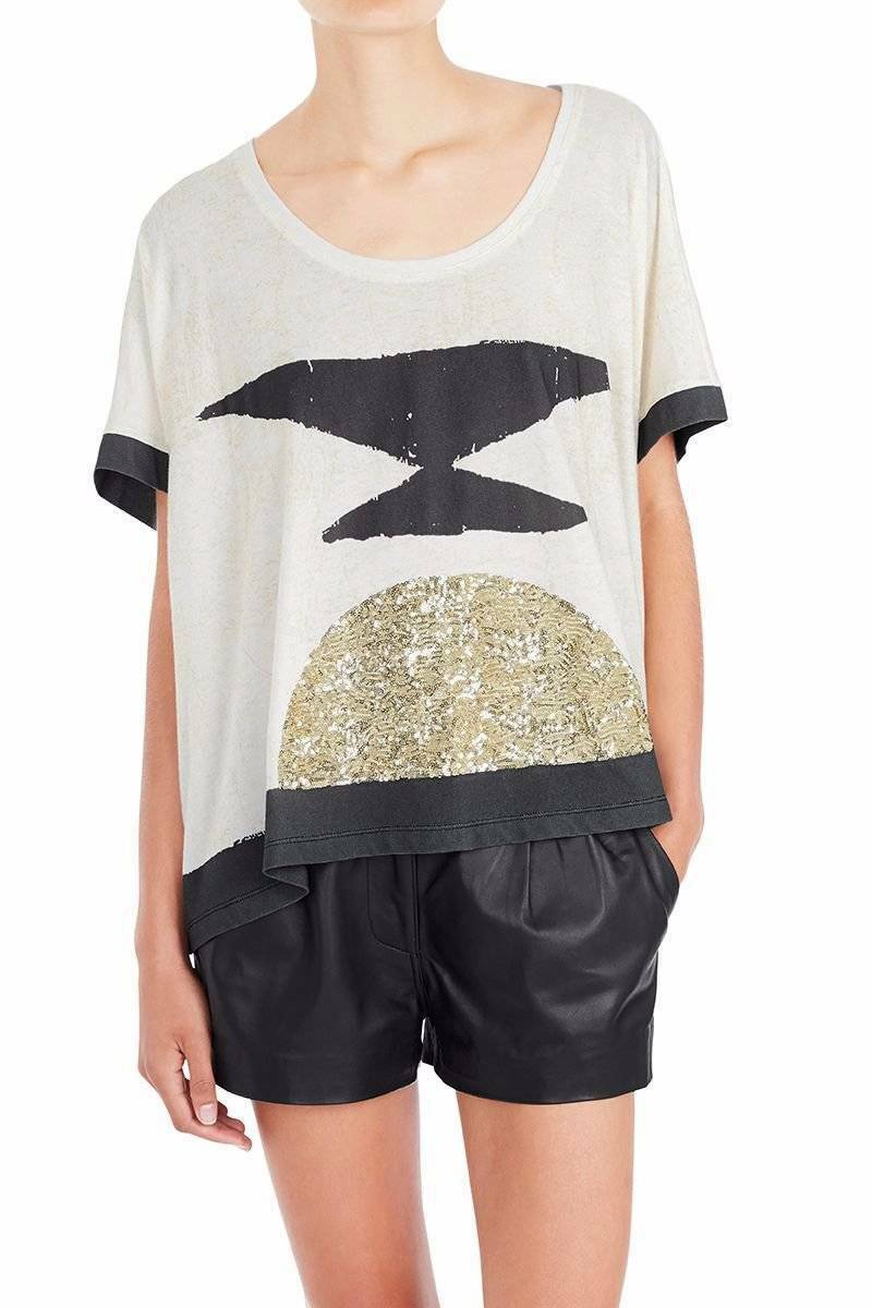 New SASS & BIDE 'The Tower Of Song'  Embellished OverGrößed Tee  XXSmall (8-10)