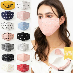 Quality Reusable Adult Cotton Fashion Face Mask Filter Pocket Nose Wire Pretty Ebay