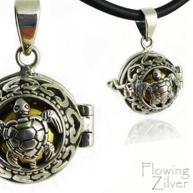 """925 SOLID Sterling Silver Turtle Chime Harmony Ball Pendant New """"Bali Forever"""""""