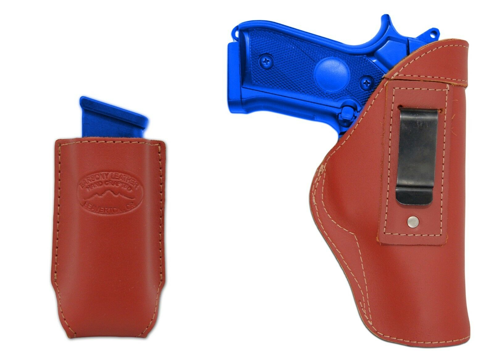 New Barsony Burgundy Leather IWB Holster + Mag Pouch Springfield Full Size 9mm