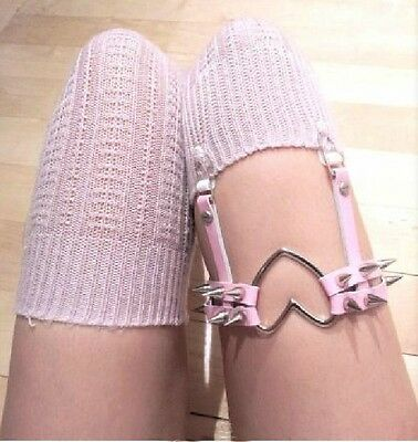 100% Handmade Lolita Punk Double Row Single Strap Spike Leather Leg Garter Belt