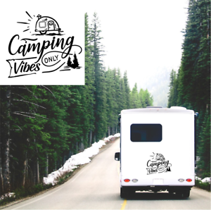 Camping Vibes Only Sticker Caravan Motorhome Camper Travel Adventure Decal