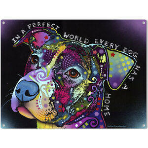 Perfect World Pit Bull Dog Dean Russo Sign Pet Steel Wall Decor 16 x 12