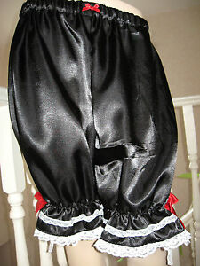 Lace Lolita Long Satin Sissy Gothic Bloomers French White Maid Pantalone Black xYwqZHdq
