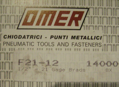 "OMER 12mm 1//2/"" Galvanized BRADS - - New box of 14,000 - 21 GA Gauge"