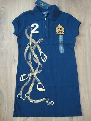 % Ralph Lauren Mädchen Ss Briley Polo Kleid Gr. S / 122 Neu!