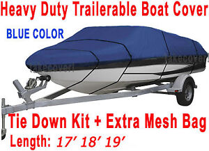 17' 18' 19' tritón Bass Trailerable Boat Cover Blue Color All Weather TB
