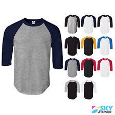 Raglan 3/4 Sleeve Baseball Mens Plain Tee Jersey Team Sports T-Shirt S-3XL