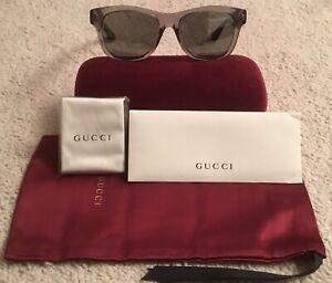 afb8ddf6a56d5 GUCCI GG0044SA 53-18-150 Gray Avana Silver Men s Sunglasses Made In ...