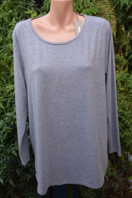SUSSAN Grey Marble TOP SIZE XXL Stylish Rounded Hem NEW RRP$49.95 L/Sleeve