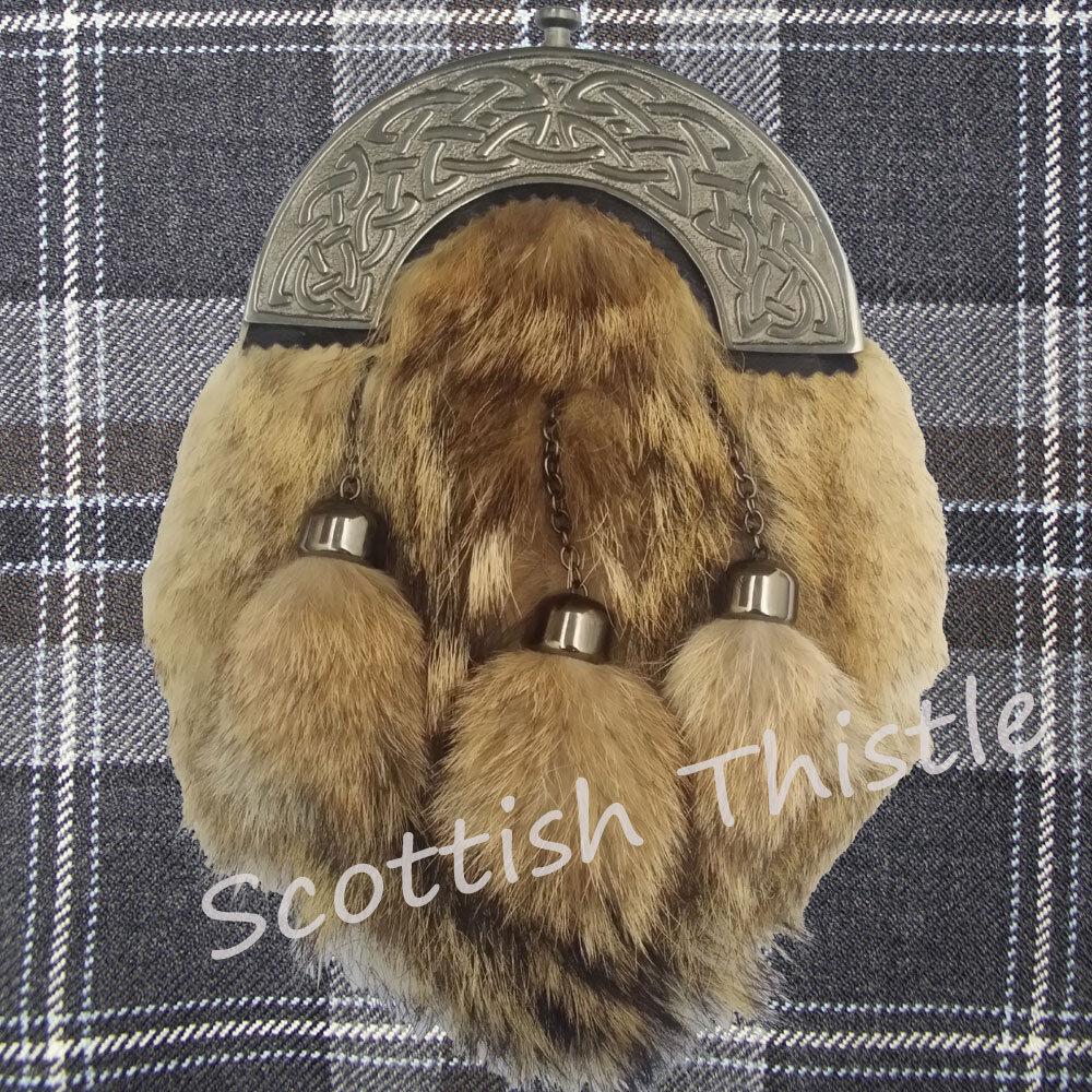 Scottish Dress Kilt Sporran Leather Formal Fox Fur Celtic Cantel Antique Chain