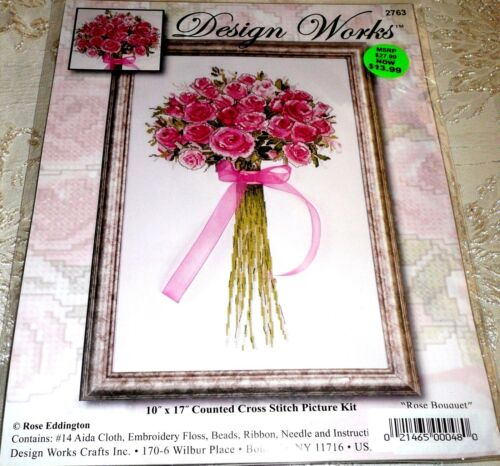 """Design Works Counted Cross Stitch Kit ROSE BOUQUET 10/"""" x 17/"""""""