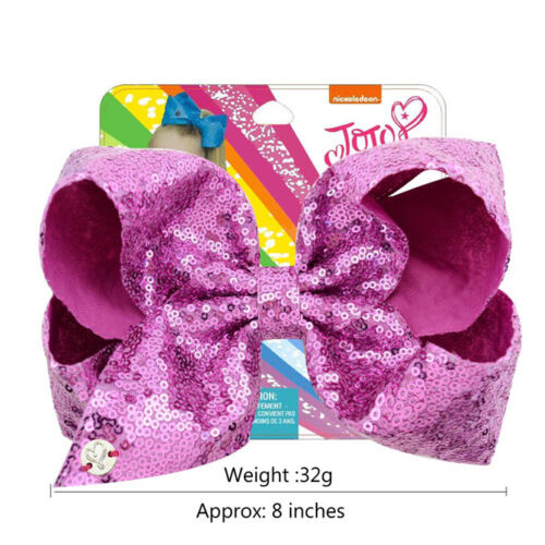 8 inch Girls Kids  SIWA Sequin Hair Bow With Alligator Clip Rainbow Bowknot