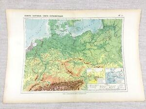1888 Antik Map Of Central Europa Geologie Physikalisch Hypsometric Original