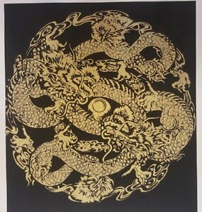 Black-Thai-Art-Silk-Painting-Poster-Print-2-Gold-Dragon-Animal-Asian-Home-Decor
