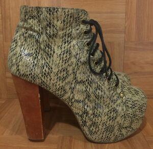 GUC-Jeffrey-Campbell-Lita-Ex-Ankle-Boots-Platform-Python-Snake-Embossed-7-5