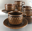 Set-Of-4-Wedgwood-Mid-Century-Stoneware-Cups-and-Saucers-Brown-Pennine-England thumbnail 2