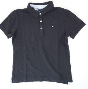 Tommy Hilfiger Poloshirt Damen Gr.M schwarz uni Piquè -S1227